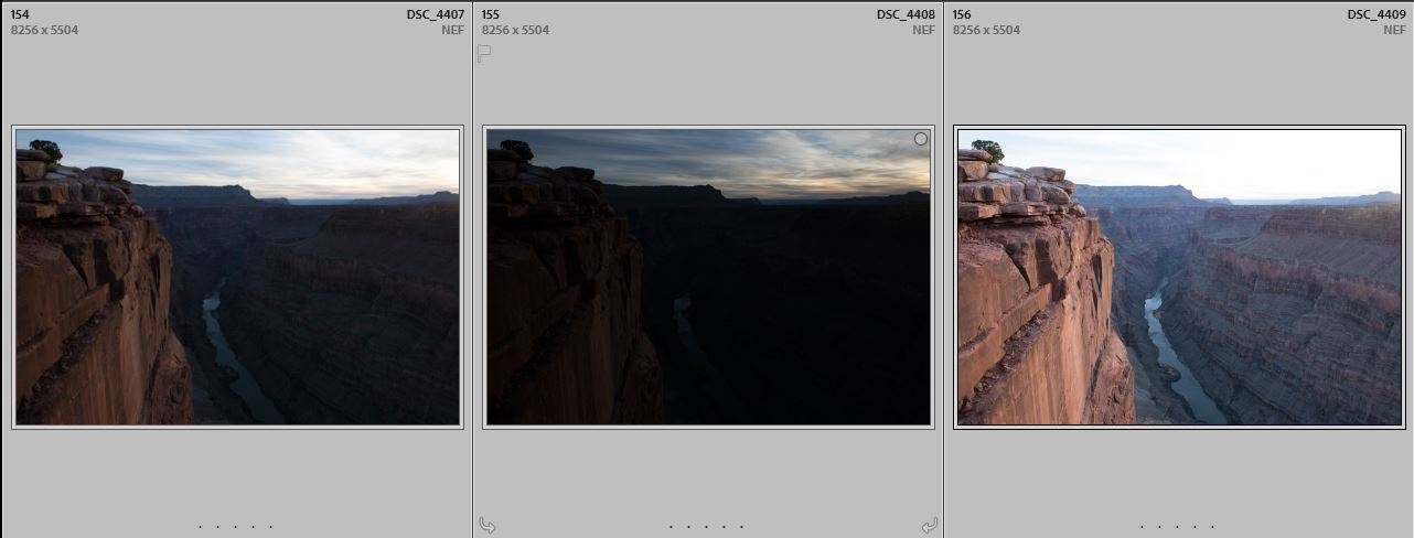 3 images used to create this HDR