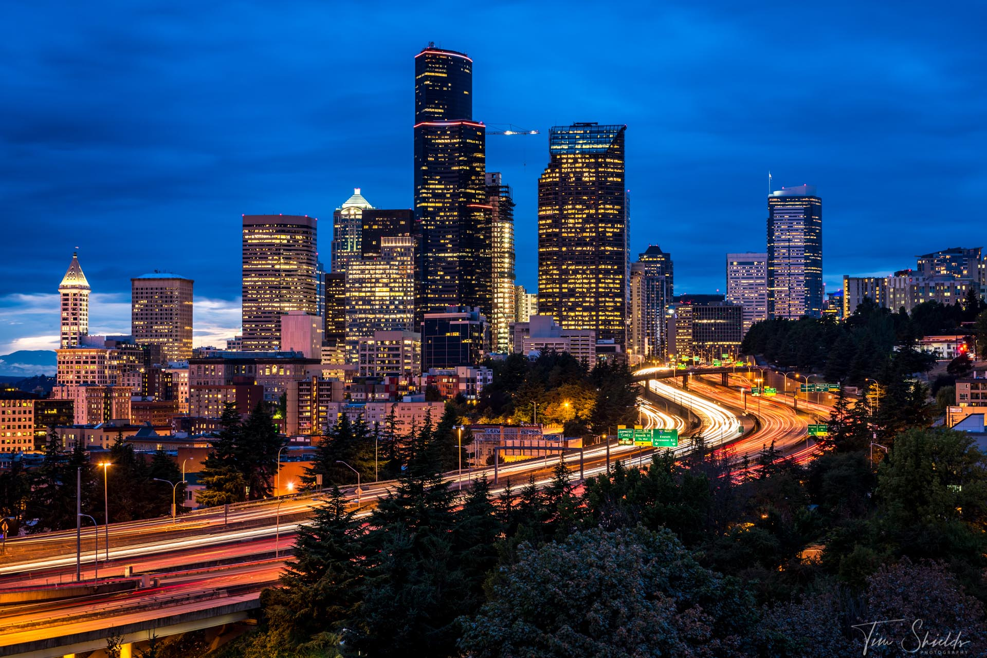 A long exposure image of Seattle at Blue Hour