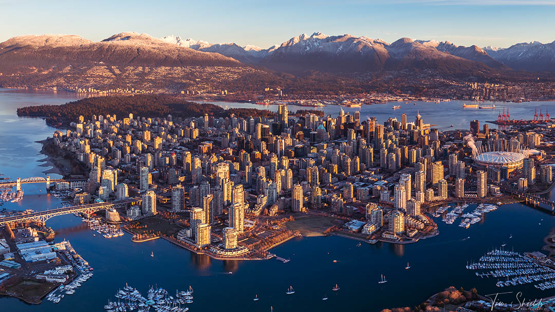 An aerial photograph of Vancouver, Canada