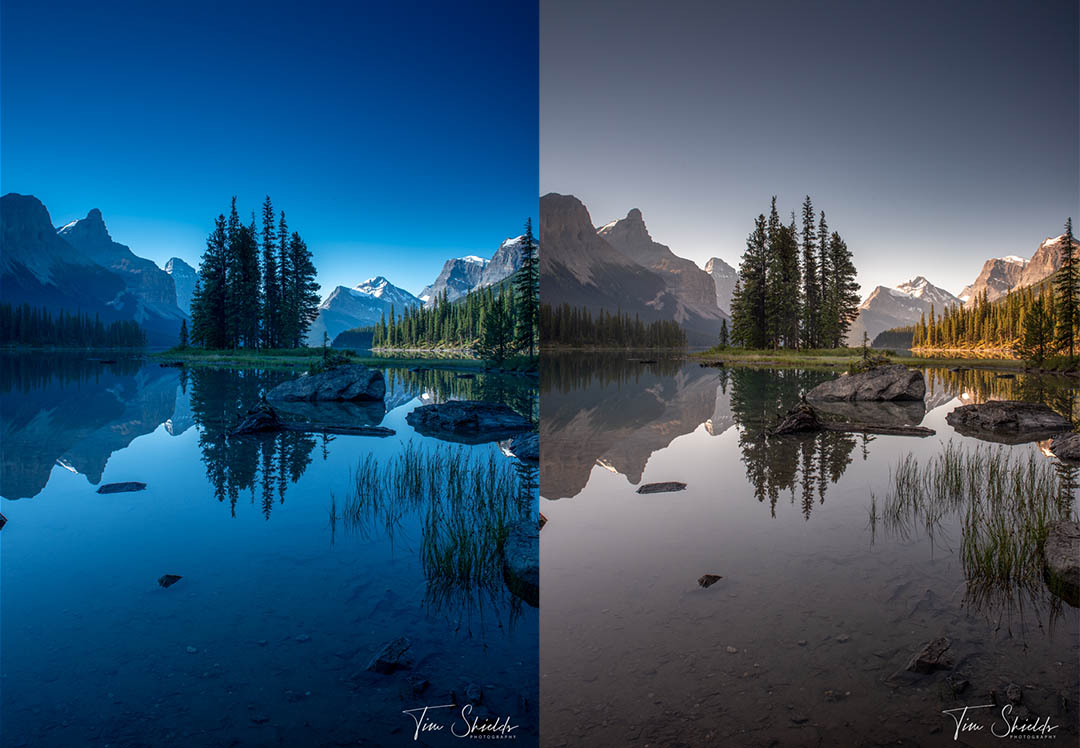 The before and after of removing a color cast caused by an ND filter.